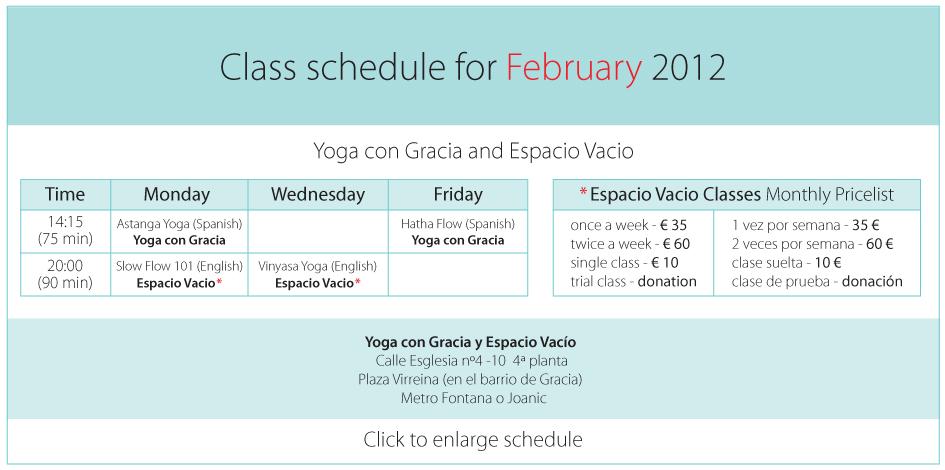 Class Schedule Barcelona